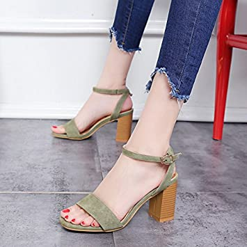 223e18c1d52a74 LGK FA Summer Women S Sandals High Heeled Sandals Summer Frosted Rough With  Waterproof Table Leisure Word Spell
