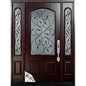 "61 1/4""X80""X5 1/4"" Exterior Front Entry Valencia Wood Door with Sidelights Left Hand Swingin"