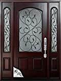 "61 1/4""X80""X5 1/4""Exterior Front Entry Valencia Wood Door with Sidelights Left Hand Swingin"