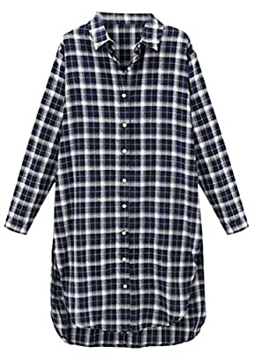 Generic Women's Casual Long Sleeve Plaid Loose Button Down Shirt Dress
