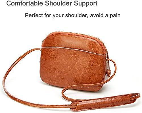 Small Leather Crossbody Bag for Women Vintage Saddle Bag with Shoulder Pad
