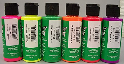 Airbrush Lexan Paint - Badger RCA-351 Rc Air Radio Control Lexan Neon 2 oz Bottles (Set of 6) Airbrush Paint