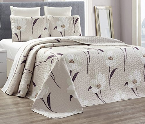 2-Piece Fine printed 100% COTTON Chic Quilt Set Reversible Bedspread Coverlet TWIN Bed Cover (Beige, White Tulip) (Twin Beige Bedspread)