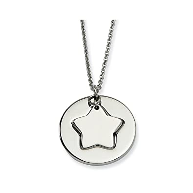 c7de0c9a97d1e Amazon.com: ICE CARATS Stainless Steel Star Cutout Chain Necklace ...