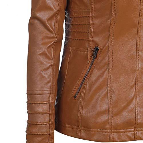 Costume Unicolore Veste Moto Branch Automne Jacket Manches Capuchon Longues Mode De Braun Moulants Motard De Printemps Doux Veste Outwear Femme Fashion Casual Outerwear Hxvqa4Sw