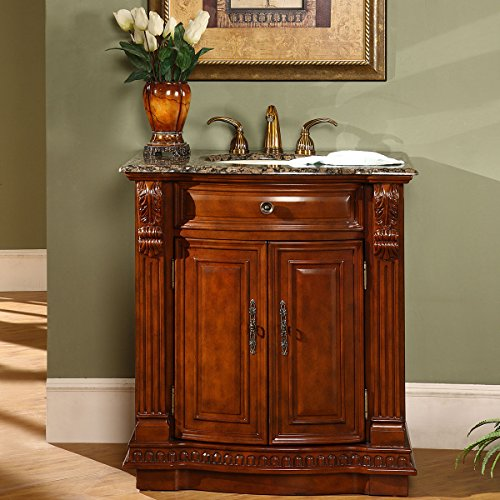 (Silkroad Exclusive Granite Stone Top Single Sink Bathroom Vanity with Cherry Finish Cabinet 33