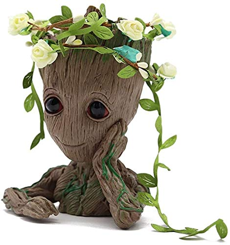 SoB Baby Groot Pen Holder, Flowerpot Perfect for Tiny Succulent Plants, Indoor Flowerpot Planter, Home Decor, Best Gift Idea 6''