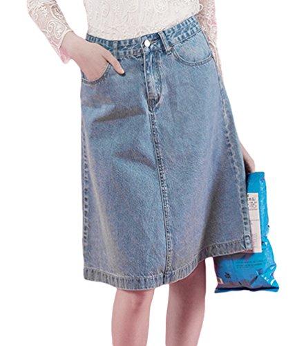 Dooxi Haute A Jupes Femmes Amincissante Denim Jupe Taille Bleu lgante Line rHrq1t