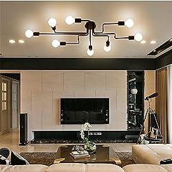 RUXUE Black Industrial Modern Semi Flush Ceiling Light 8 Lighs Pendant Lights Fixture