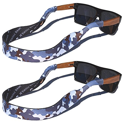 TORTUGA STRAPS FLOATZ RF Winter Camo Glasses Strap - 2 Pk | Floating Adjustable Sunglass Straps | Soft & Comfortable Dual Sided Fabric | 3MM Neoprene Base for Added Durability | Universal Easy Fit Camo Sport Glasses