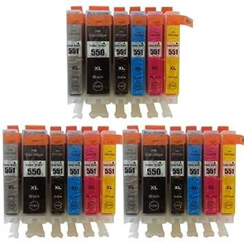 18 XL Color Direct CLI-551 XL/PGI-550 XL Cartuchos de tinta para impresoras Canon Pixma IP7150 MG6350 ix6850 3 X gris negro 3 X Negro 3 X cian 3 x ...