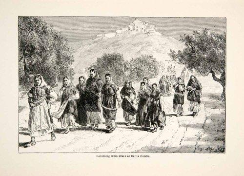[1896 Wood Engraving Gaston Vuillier Santa Eulalia Ibiza Mass Costume Clothing - Original Wood] (Unique Santa Costumes)