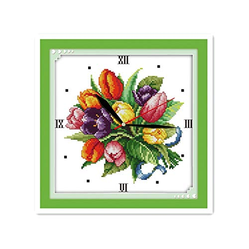 Zamtac Wall Clock Handmade DIY Embroidery Cross Stitch Suite 11CT 14CT Tulip Clock Wall Decoration Clock Paintings - (Cross Stitch Fabric CT Number: 14CT - 14k Clock