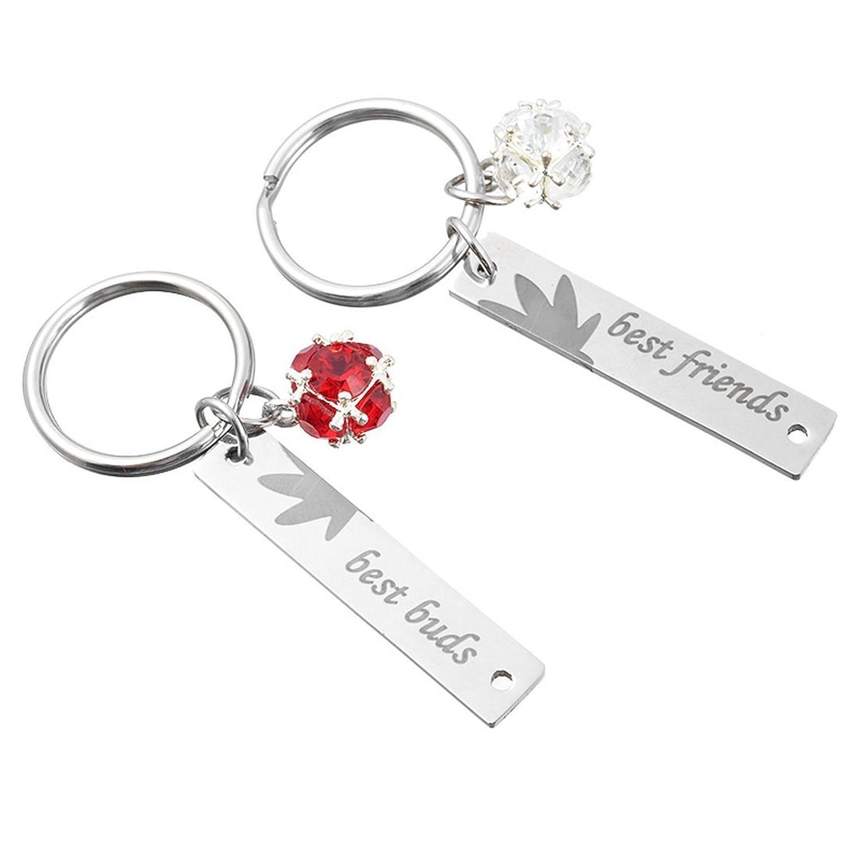 MJARTORIA Rhinestone Best Buds BFF Marijuana Leaf Engraved Key Ring Set