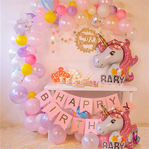 Unicorn Birthday Decorations For Kids Girls Para Fiestas Pink Happy Birthday Foil Mylar Princess First Rose Gold Balloons Set Gold Banner For Adults Unicorn Party Supplies Set Unicorn Decor