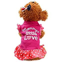 WEUIE Big Promotion! Puppy Clothes Summer Cute Pet Puppy Small Dog Cat Pet Dress Apparel Clothes Fly Sleeve Dress (S, Hot Pink)
