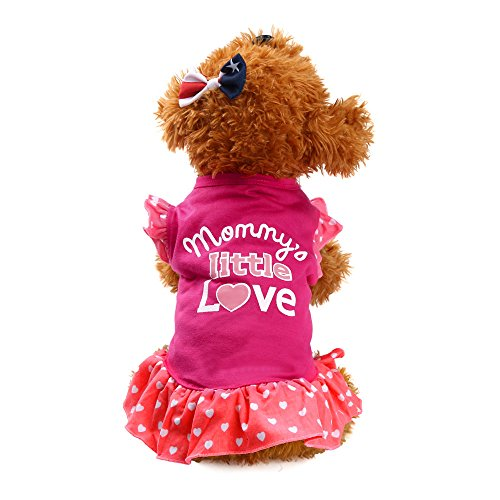 (WEUIE Big Puppy Clothes Summer Cute Pet Puppy Small Dog Cat Pet Dress Apparel Clothes Fly Sleeve Dress (XS, Hot)
