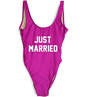 c298879bb9db3 Yihanshangmao Womens Just Married Letters Print One Piece Swimsuit High Cut  Backless Bathing Suit