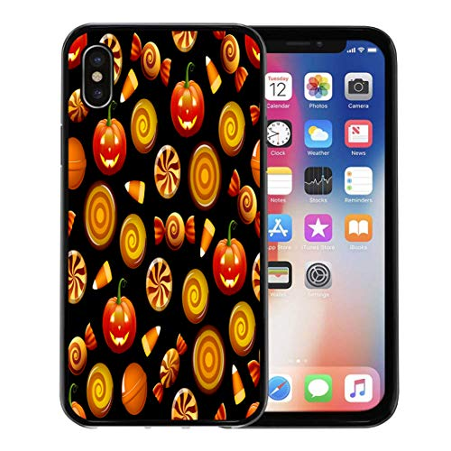 Semtomn Phone Case for Apple iPhone Xs case,Orange Pattern Halloween Sweets Candy Corn and Pumpkins on Circle Hard for iPhone X Case,Rubber Border Protective Case,Black ()