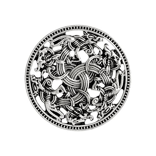 - QIHOO Norse Medieval Viking Shield Symbol Brooch Celtic Norse Vintage Jewelry (Silver)