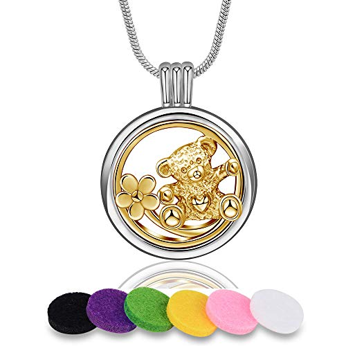 INFUSEU Aromatherapy Essential Oil Diffuser Locket Pendant Necklace with 12 PCS Refill Pads for Women Two Tone Jewelry (Cute Bear & Flower)