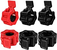 Taicanon 3Pairs 1 inch Pair of Quick Release Clamp Locking Collar Pro Secure Snap Latch for Squat Weightliftin