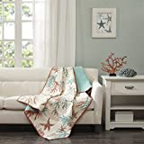 Pebble Beach Oversized Cotton Quilted Throw Coral 50x70'