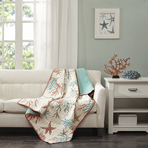 Coral Pebbles (Pebble Beach Oversized Cotton Quilted Throw Coral 50x70