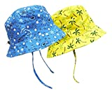 N'Ice Caps Kids Baby SPF 50+ UV Protection Breathable Sun Hat - 2pc Pack (Neon Blue/Neon Yellow Designs, 52cm (20.5'') / 18-36mos)