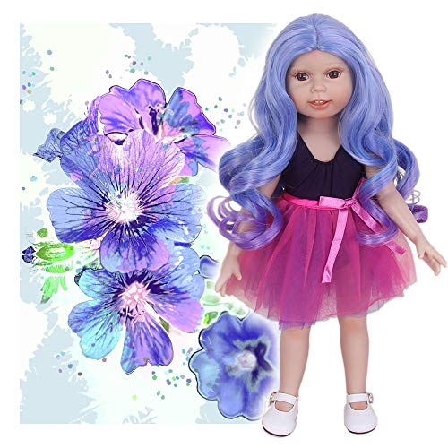 STfantasy Doll Wig for 18 Inches American Girl Doll AG OG Journey Girls Gotz My Life Ombre Purple Curly 2 Tone Synthetic Hair Lolita Girls Gift]()
