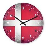 Denmark Flag Wooden Wall Clock Silent Non-ticking Wall Clocks Decorative for Living Room Bedrooms Nursery Clock Children Watch