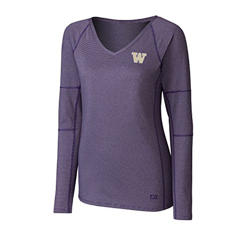Cutter & Buck NCAA Washington Huskies Adult Women Long Sleeve Victory V-Neck, Large, College ()