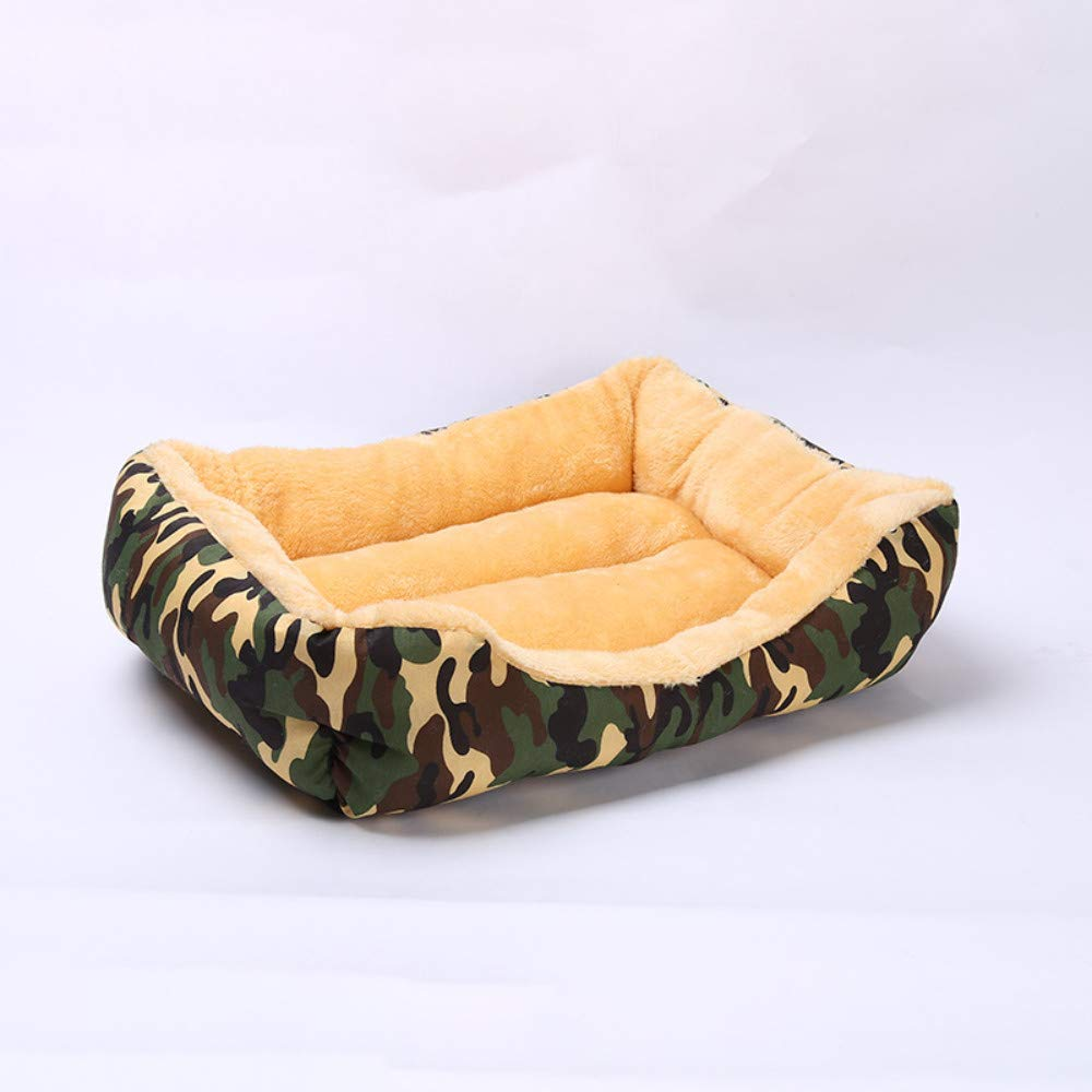 49x41x16cm WALSITK Camouflage autumn and winter warm kennel removable and washable pet nest large medium and small dog bed pet mattress army green, 49x41x16cm