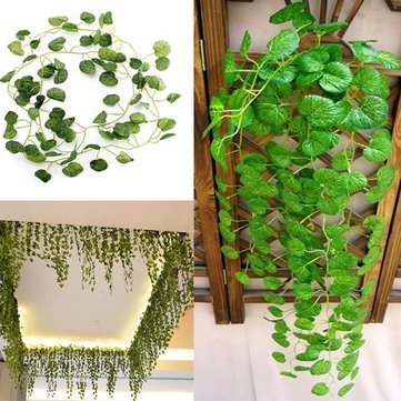 2m Artificial Ivy Crabapple Green Leaves Garland Home Garden Decoration