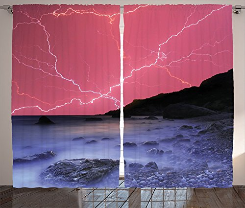 Lake House Decor Curtains Thunderstorm Bolts with Vivid Colorful Sky Like Solar Lights Phenomenal Nature Picture Living Room Bedroom Decor 2 Panel Set Pink Grey (Bloody Bolt Kit)