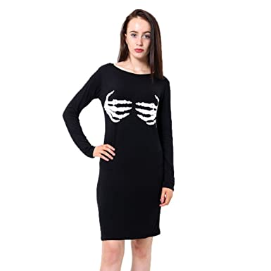 8c5d91df604e Womens Scary Halloween Skeleton Bodycon Dress Choker Neck Top Legging  Jumpsuit (2X/L- (20/22), Skeleton Hand Bodycon Dress): Amazon.co.uk:  Clothing