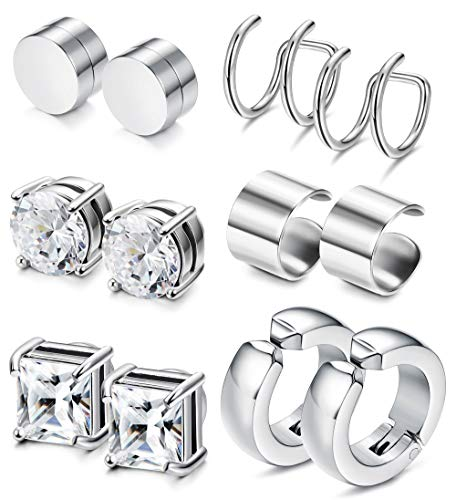 JOERICA 2-4 Pairs Stainless Steel Magnetic Stud Earrings for Men Women Non Piercing Clip on CZ Earrings (L:6 Pairs,8mm,Silver-tone) ()