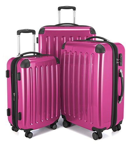 (HAUPTSTADTKOFFER Luggages Sets Glossy Suitcase Sets Hardside Spinner Trolley Expandable (20', 24' & 28') TSA (Alex Pink))