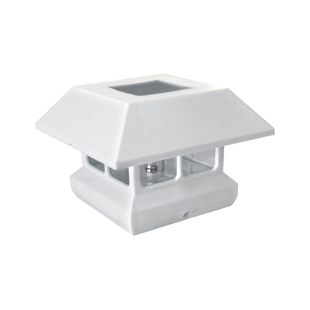 Veranda 4 in x 4 in solar powered post cap for deck or fence solar powered post cap for deck or fence white 12 pack amazon aloadofball Images