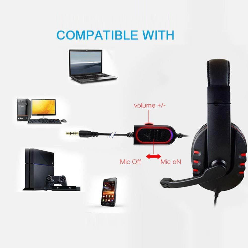 CAOQAO - Auriculares para Videojuegos con micrófono Desmontable ...