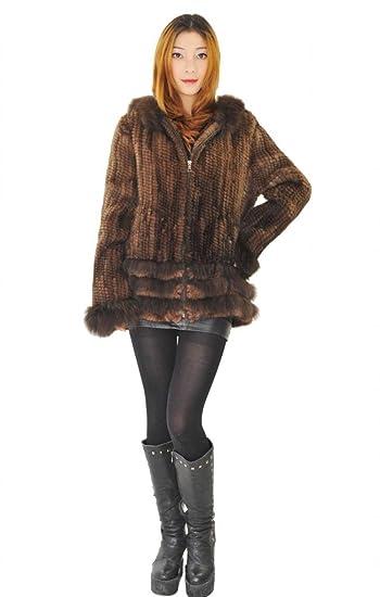 CX piel mujer visón abrigo de piel con piel de zorro Tejido a mano Real abrigo, marrón color, S: Amazon.es: Ropa y accesorios