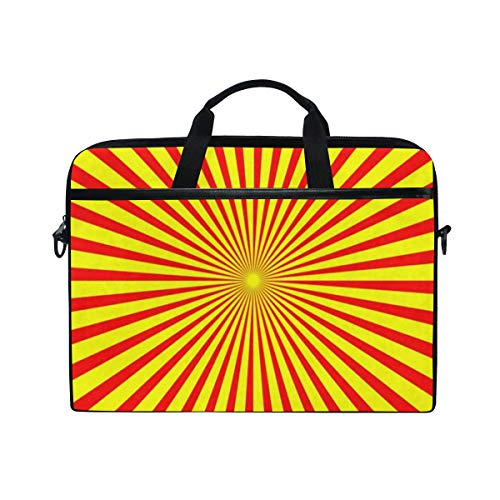 Radiating Yellow and Red Line 14-15 inch Laptop Case Computer Shoulder Bag Notebook Tablet Crossbody Briefcase Messenger Sleeve Handbag with Shoulder Strap Handle for Women Men Girls Boys