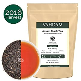 Assam Black Tea Leaves (200+ Cups), STRONG, MALTY & RICH, Loose Leaf Tea, 100% Pure Unblended, Single Origin Black Tea Loose Leaf, Brew Hot Tea, Iced Tea, Kombucha Tea, FTGFOP1 Long Leaf Grade, 16oz 75 INDIA'S NATURAL GIFT TO THE WORLD -  Garden Fresh  Assam Tea Loose Le af from the region of Assam - The Most Popular Black Tea Growing Region in the World. A robust, full-bodied, rich loose leaf tea with a delicious malty flavor. Can be served as straight black tea or as milk tea. An English tea to kickstart your mornings. Unlike Irish breakfast tea, Scottish Breakfast tea or English breakfast tea, this loose tea can be served as hot tea, iced tea or even used to make Kombucha tea. Vadham ASSAM BLACK TEA - The Pride of Indian Tea - Assam is known to produce the finest Black Teas in the world. The worlds best selling black tea blends like the English Breakfast Black Tea, Earl Grey Black Tea all are blended with Assam Black Teas to get the highest flavour. VAHDAM's Loose Leaf Teas are grown, packed & shipped direct from India. DELICIOUS & HEALTHY - This Black Tea Pure Leaf makes a robust & flavoury cup of tea. Pefect for brewing Kombucha Tea & Black Tea Lemonade. Unlike all black tea Bags, black tea k cups, decaf black tea, black tea bulk, this loose leaf tea is whole leaf & 100% Natural with no added flavours.