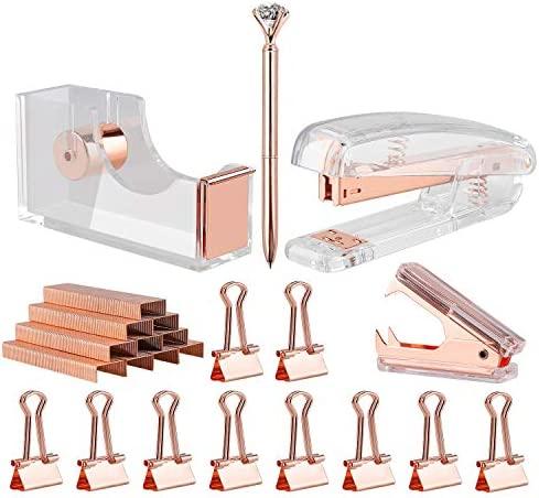 KIDMEN Rosegold Desk Accessory Kit,Set of Stapler, Staple Remover,1000pcs Staples,Tape Dispenser,Big Diamond Ballpoint Pen and 10pcs Binder Clips