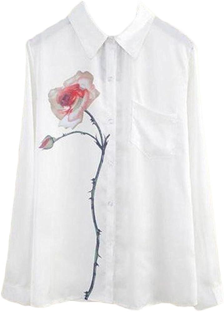 Camisas Mujer Elegantes Blancas Fiesta Chiffon Blusas De Moda Impresión Floral Tul Tops con Bolsillo Casual Primavera Verano Camiseta Manga Larga De Solapa Ropa Fiesta Moda 2018: Amazon.es: Ropa y accesorios