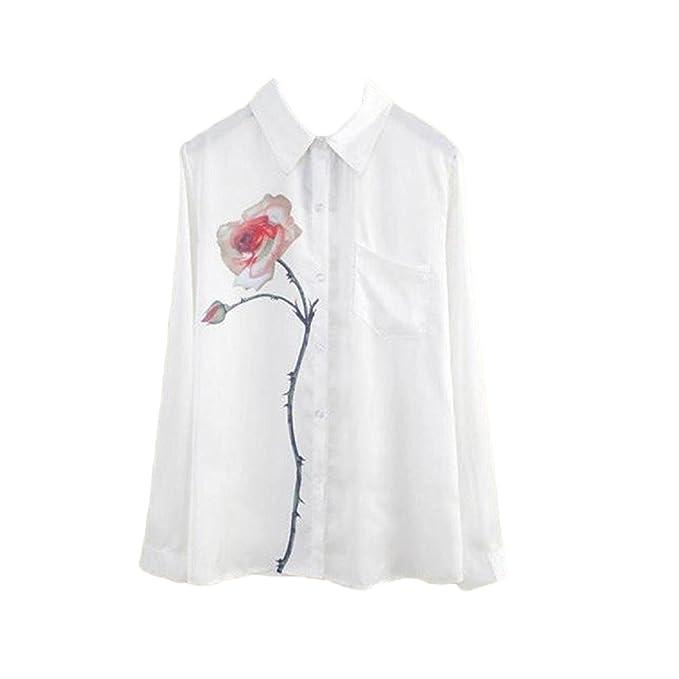 Camisas Mujer Elegantes Blancas Chiffon Blusas De Moda Impresión Floral Tul Tops con Bolsillo Fiesta Casual Primavera Verano Camiseta Manga Larga De Solapa: ...