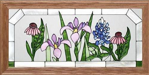"""Flowers ~ Texas Wildflowers 22.5"""" Wide x 11.5"""" High Hand Painted Art Glass Panel"""
