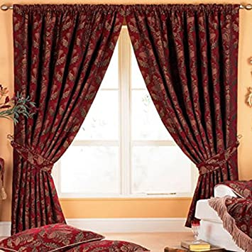 Curtains Ideas burgandy curtains : Paoletti Shiraz Pencil Pleat Curtains, Burgundy, 66 x 72 Inch ...
