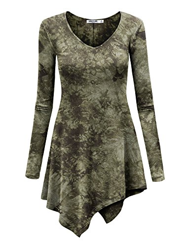 WT1062 Womens V Neck Long Sleeve Tie Dye Handkerchief Hem Tunic XXXL OLIVE by Lock and Love (Image #1)