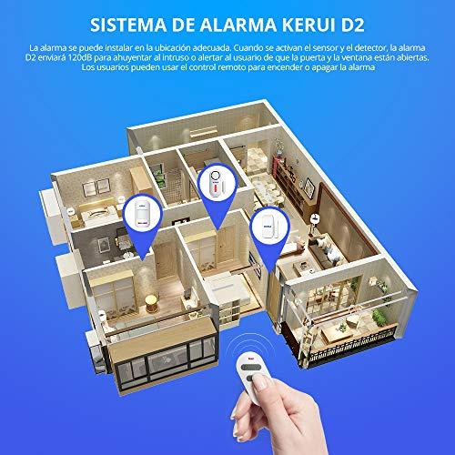 KERUI D2 Alarma de Puerta y Ventana inalámbrico con 120 dB Sonido y Luz para Sistema de Alarma Seguridad Casa, Kit Alarma para Hogar DIY Tal como ...